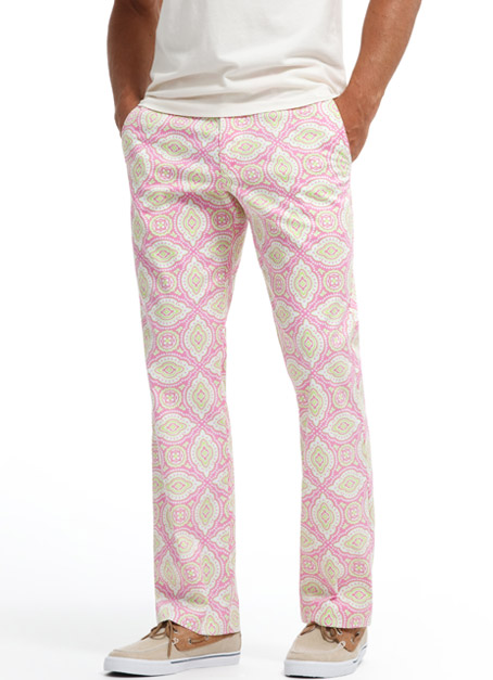 BONOBOS Pink Medallion Print Washed Chinos