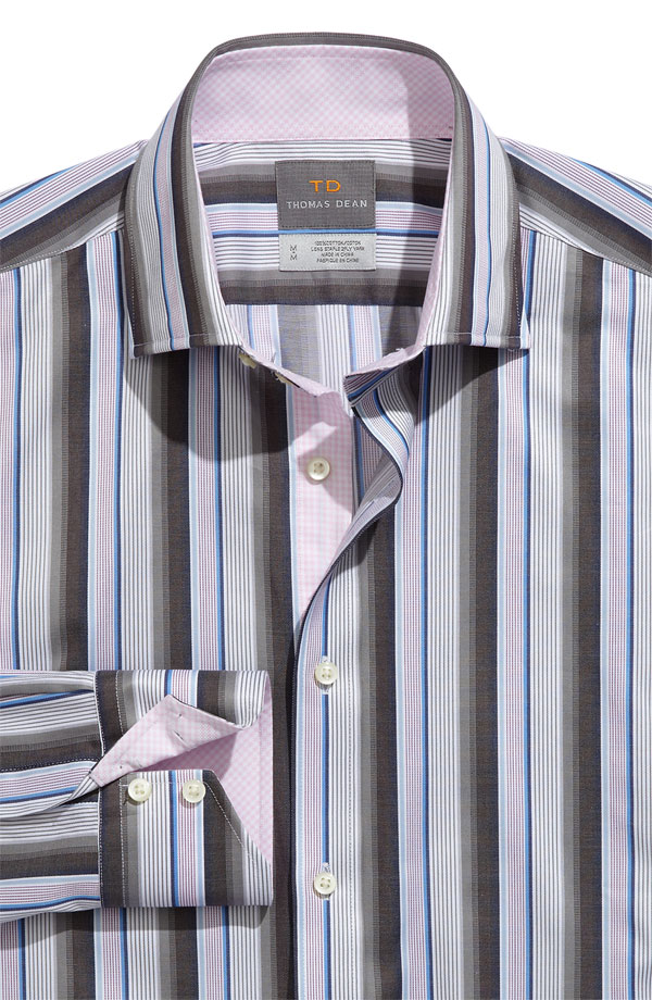striped thomas dean spread collar shirt