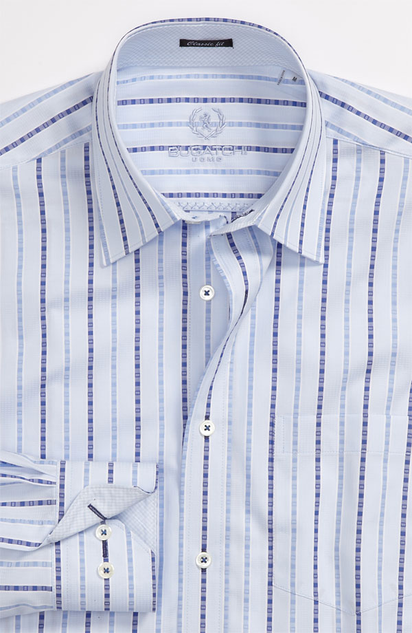 blue striped bugatchi uomo classic fit sport shirt