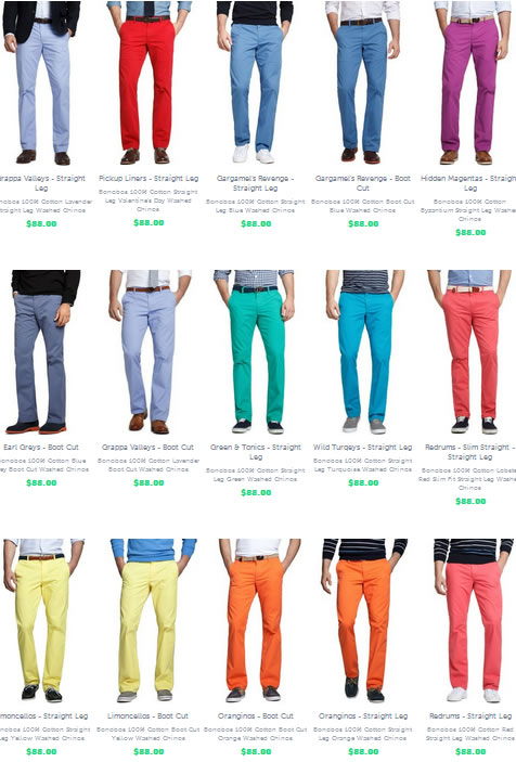 bonobos colorful chinos