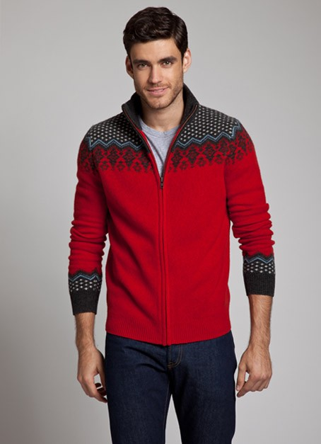 bonobos norsland Lambswool Scandinavian Pattern Full Zip Sweater
