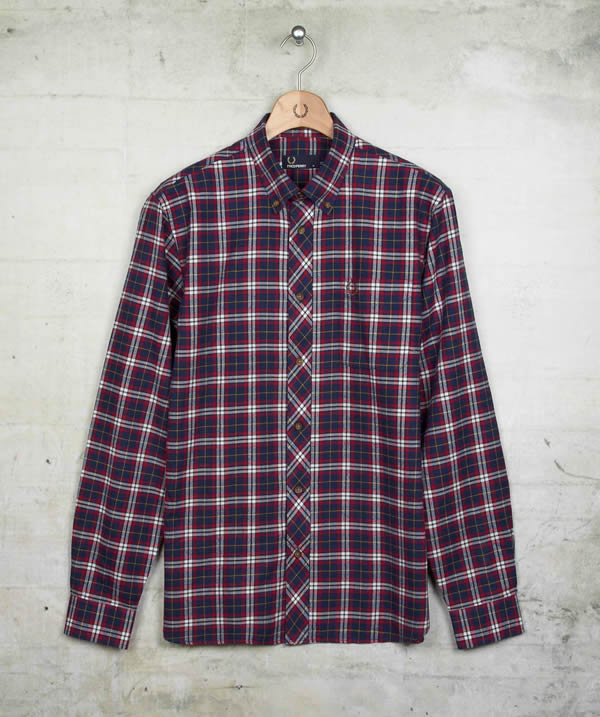 fred perry navy plaid twill shirt