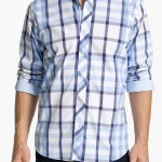 Blue Plaid Bugatchi Uomo Dress Shirt