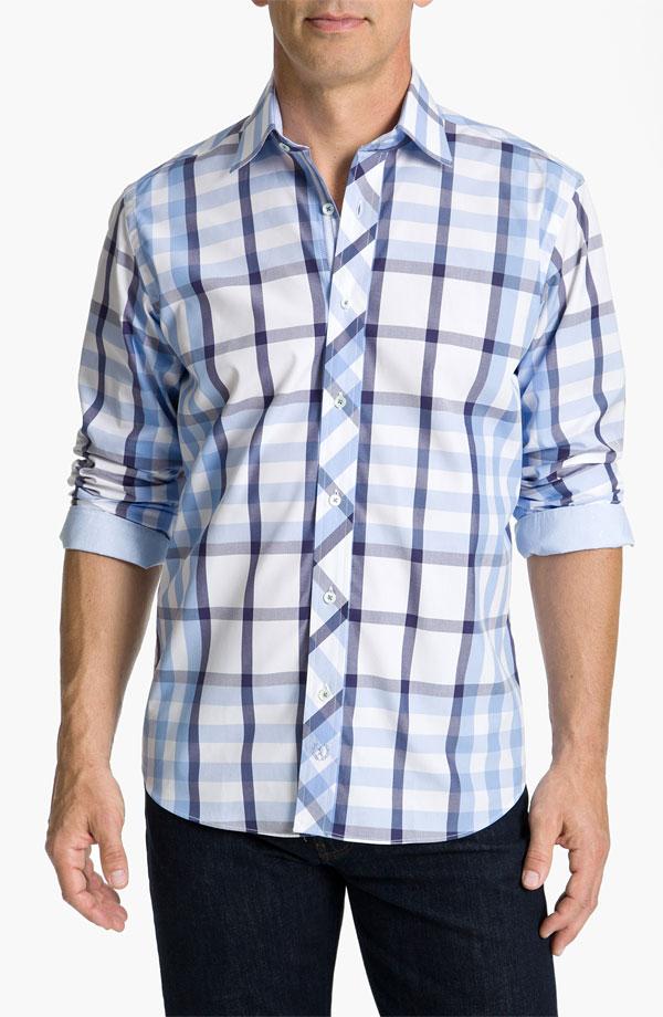 Blue plaid bugatchi uomo dress shirt for Blue and yellow plaid dress shirt