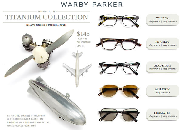 warby parker titanium eyewear collection