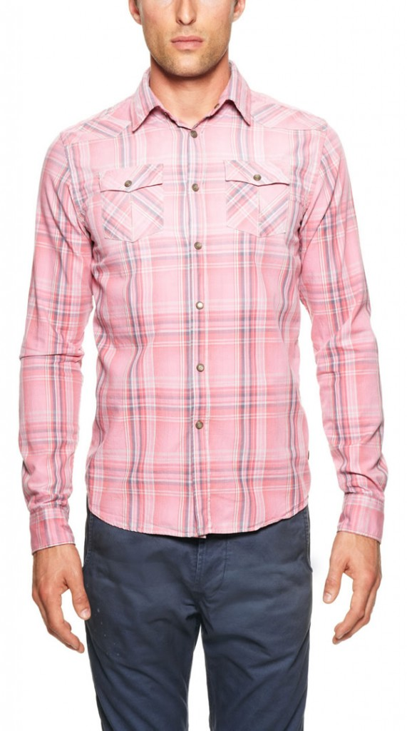 scotch & soda pink plaid mens sport shirt