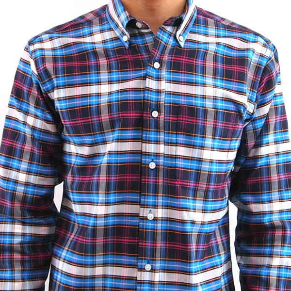 lumina navy plaid pocket oxford, made in chicago!