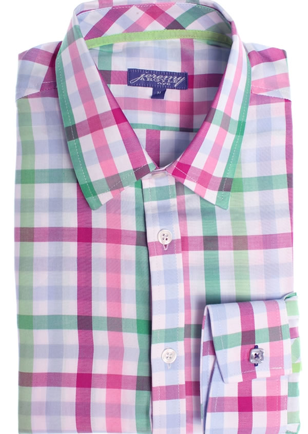 jeremy argyle Lime, Pink and white plaid mens dress shirt