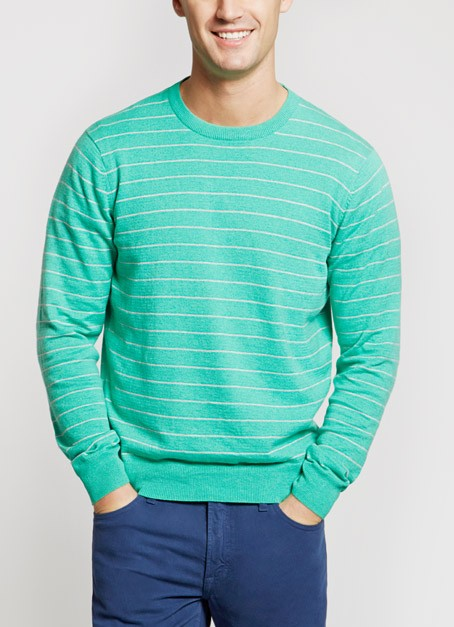 Bonobos Tidewater Heather Green and Grey Maritime Stripe Cotton Sweater