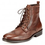 A. Testoni BASIC Men's Brown Brogue Ankle Boots