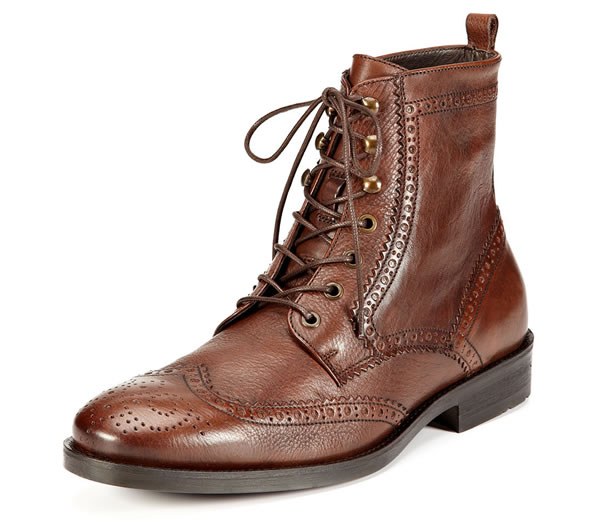 A. Testoni Men's Brown Brogue Ankle Boots