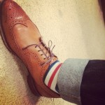 Allen Edmonds Wingtip Brogues w/ Striped Socks
