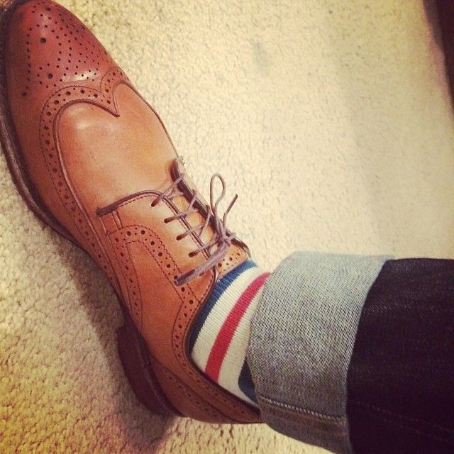 allen edmonds wingtip brogues striped socks