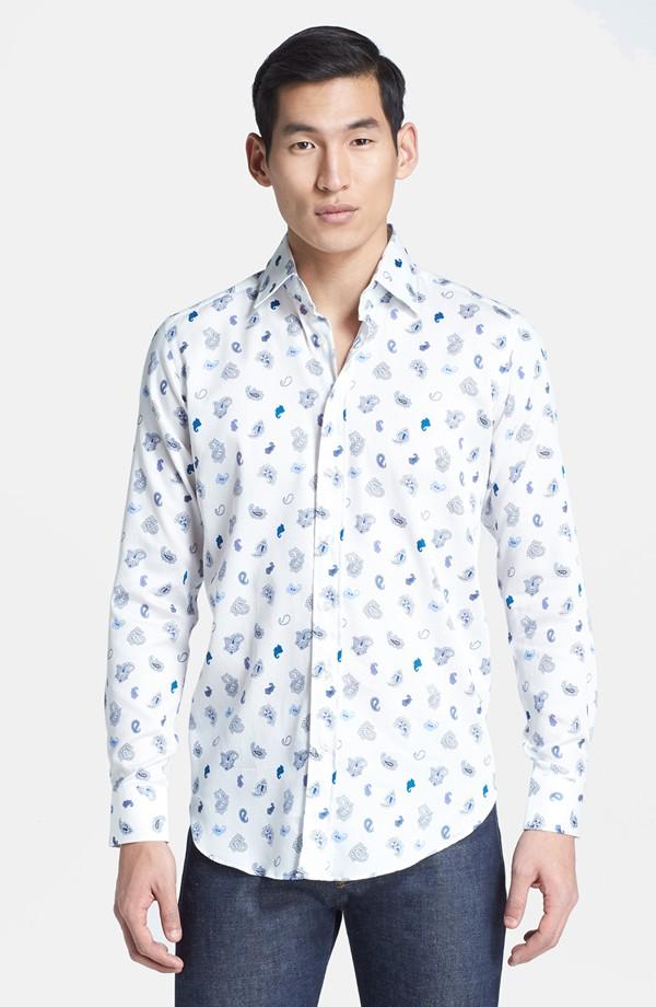 etro Micro Paisley Print Sport Shirt