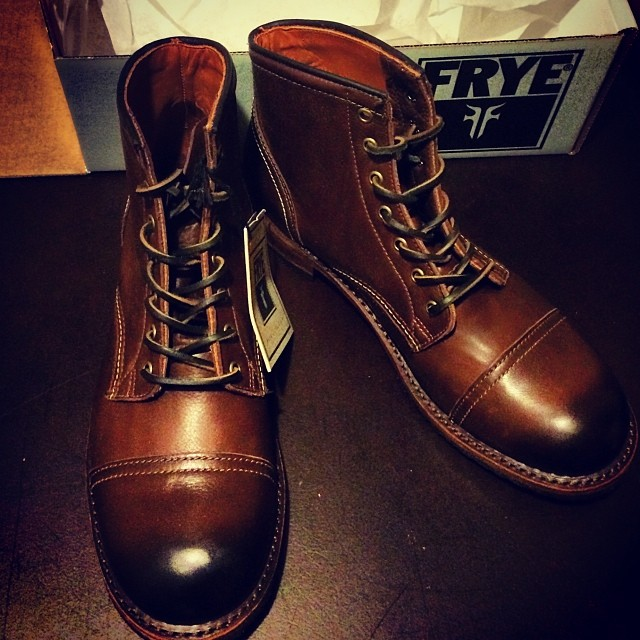 frye leather boots with cap toe