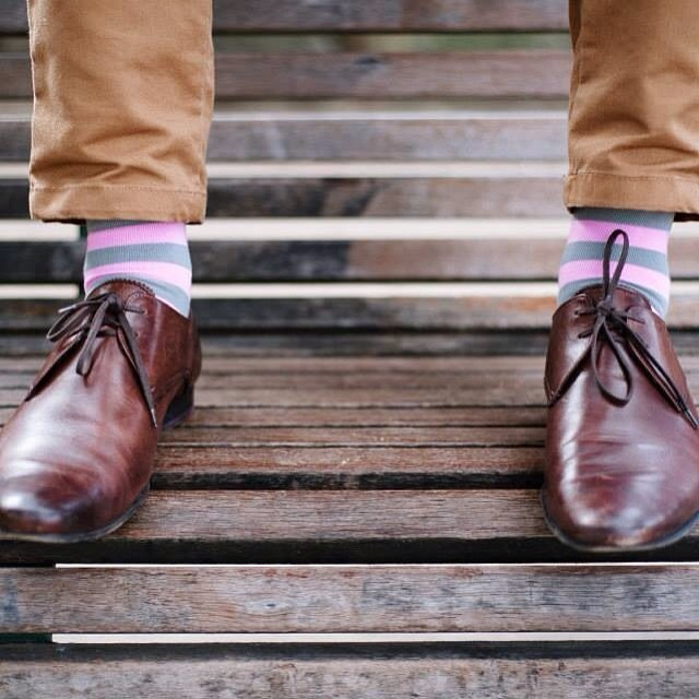 pink and grey striped socks