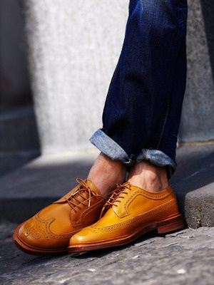 Florsheim by Duckie Brown Brogue Wingtip Oxfords with Premium Denim