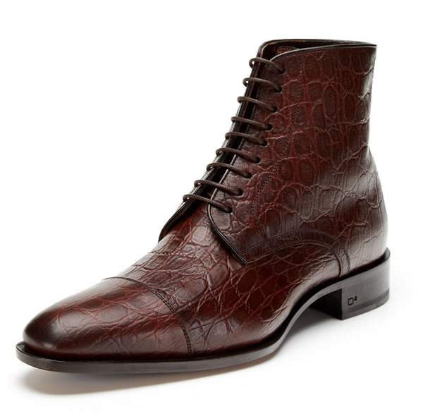 dsquared2 Croc Embossed Leather Lace-Up Boot