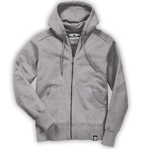 grey american giant MENS HEAVYWEIGHT FULL ZIP HOODED SWEATSHIRT