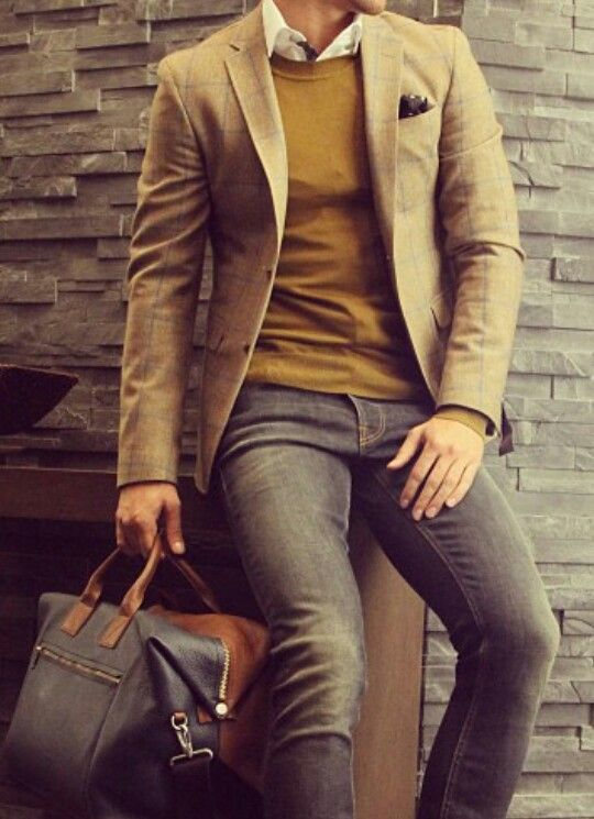 great look. sport coat, sweater and jeans