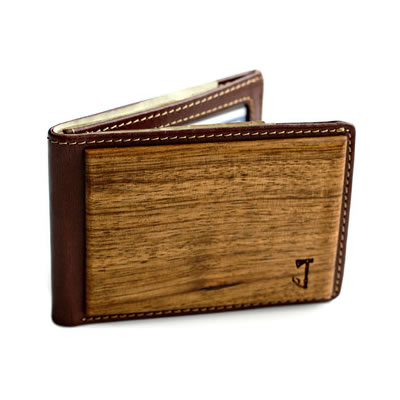 slim timber wooden Zebrawood Bifold Wallet