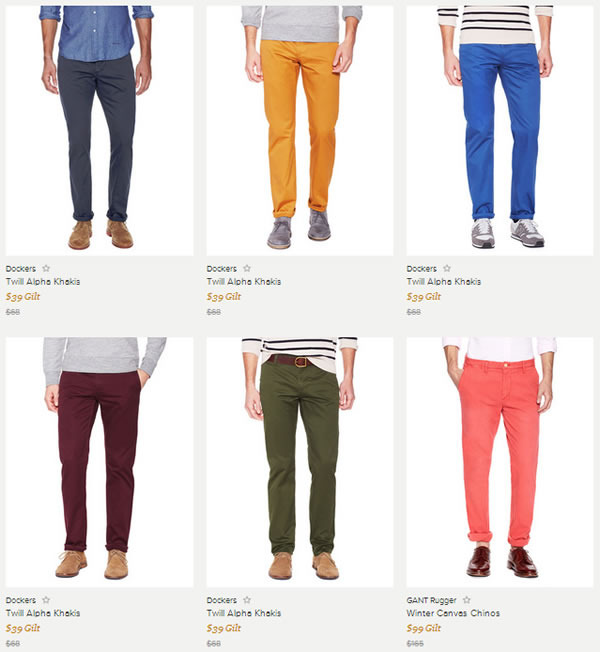 Spring Colored Men's Chino Pants from Gilt