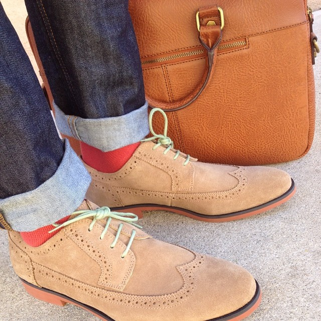 suede brogue mens shoes denim and leather bag