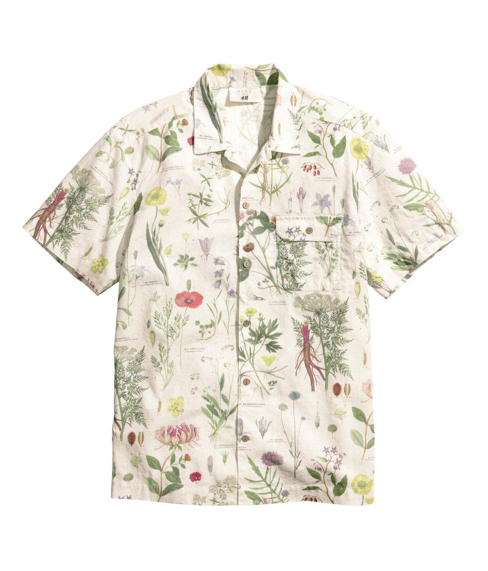 h&m linen blend floral print shirt