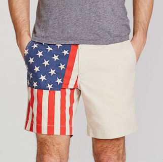 mens flag printed chino shorts
