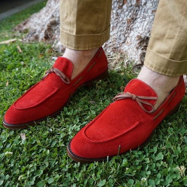 red suede mens loafers