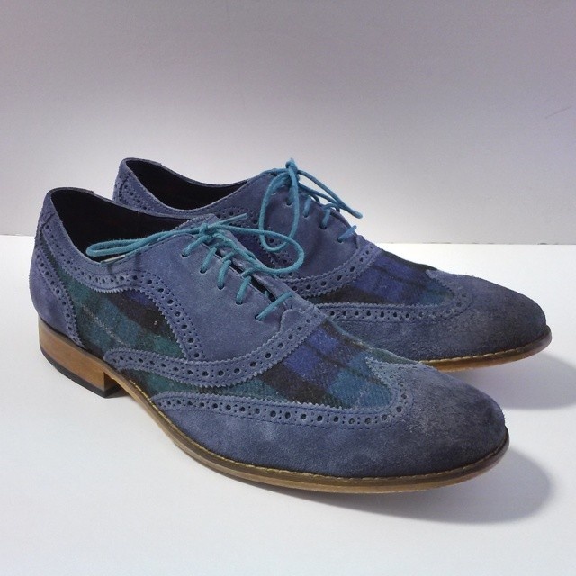 Mens Cole Haan blue suede with blue green plaid and green laces size 13 wingtip spectators