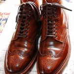 brown leather wingtip boots