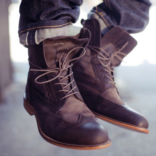 wingtip boots cuffed