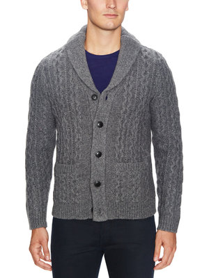chunky mens cable knit cardigan