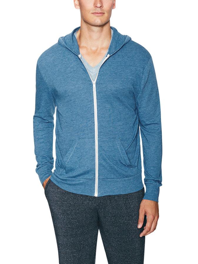 knit cotton zip front hoodie