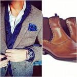 Twill Blazer + Cardigan + Boots