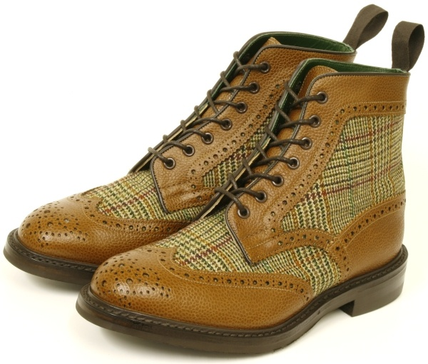 tweed leather mens brogue boots