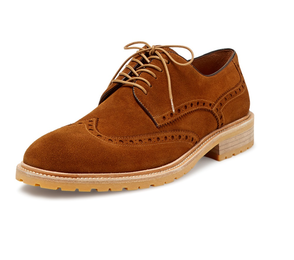 chunky suede wingtip shoes
