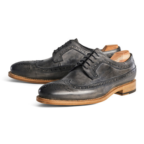longwing brogue distressed grey mens shoes