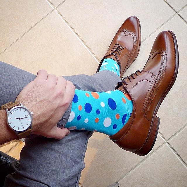 poka dot mens socks brown oxfords