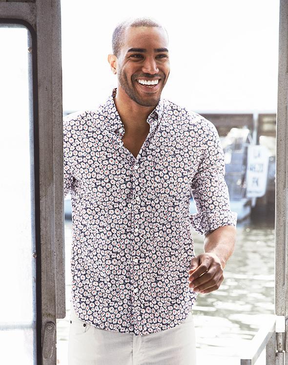 fresh print cotton mens shirts
