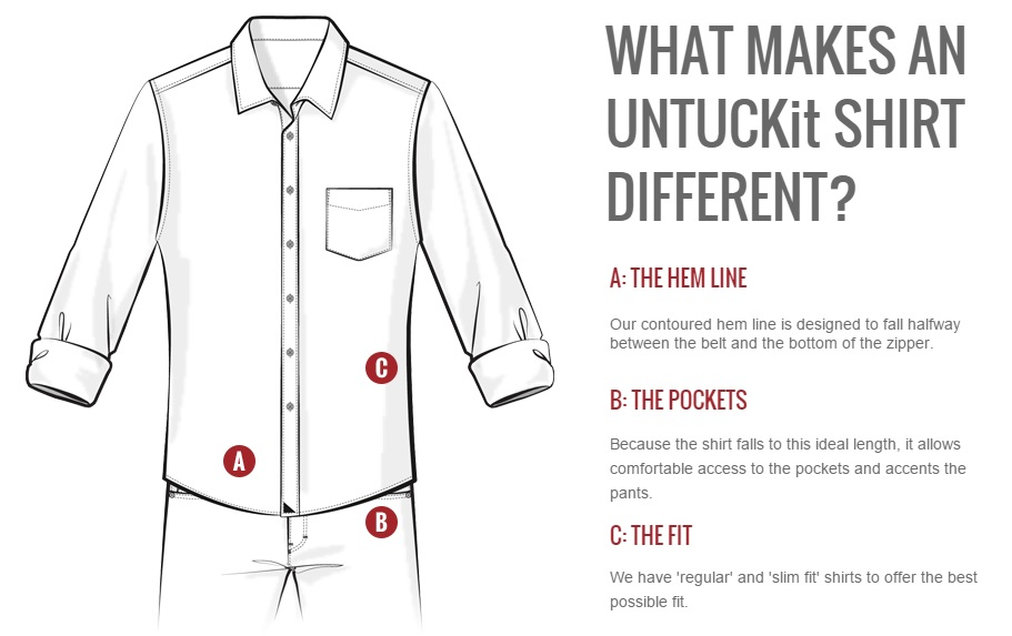 UNTUCKit mens shirts designed to be worn untucked