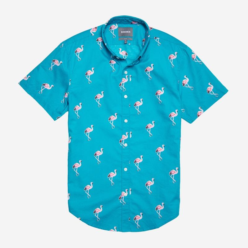 bonobos mens shirt blue flamingos