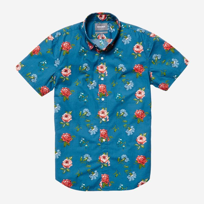 mens short sleeve shirt pink carnations bonobos