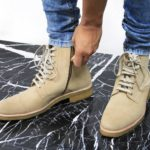 Beige Suede Combat Boots from ORO