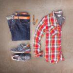 Dark Rinse Denim, Plaid Flannel and Sneakers