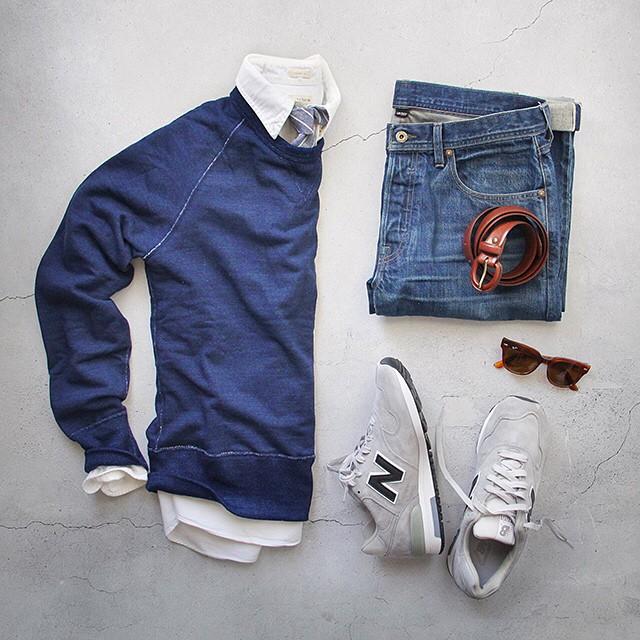 sweatshirt denim and sneakers mens outfit