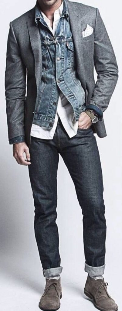 super hipster layered in denim mens fashion
