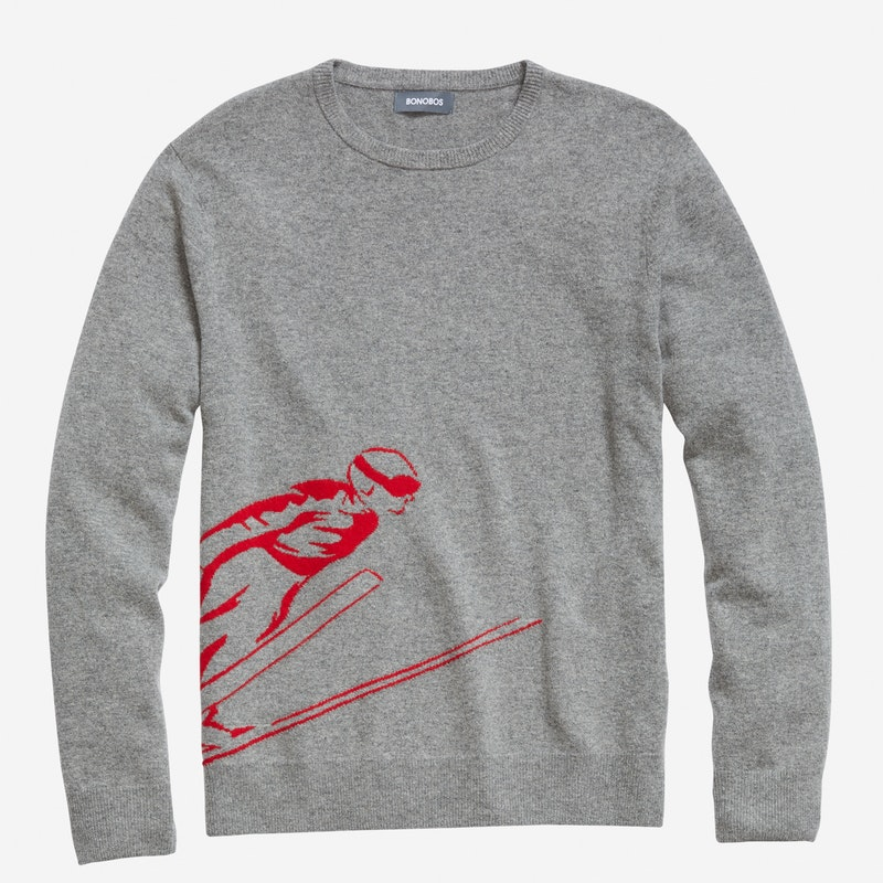 Bonobos Wool Crew Neck Sweater with Skier Intarsia