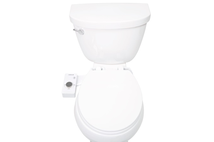 How Tushy bidet looks on your white toilet